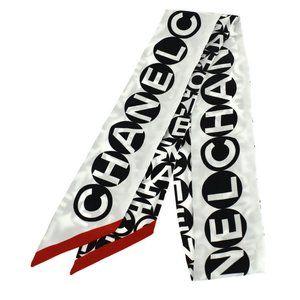 CHANEL CC Logo Long Twilly Scarf 100% Silk White Black Italy Accessory 67JE112